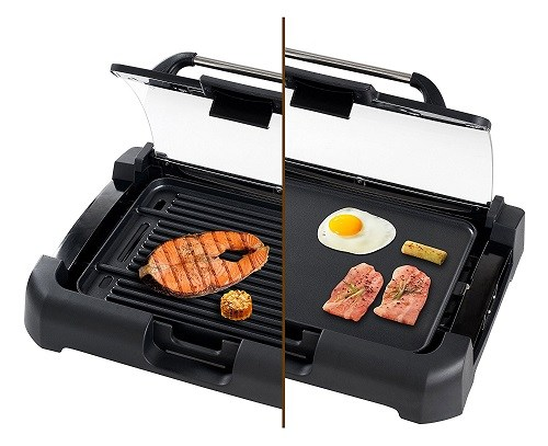 The Secura GR-1503XL 1700W Electric Reversible 2 in 1 Grill Griddle With Glass Lid