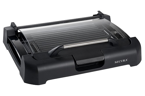 The Secura GR-1503XL 1700W Electric Reversible 2 in 1 Grill Griddle With Glass Lid Closed