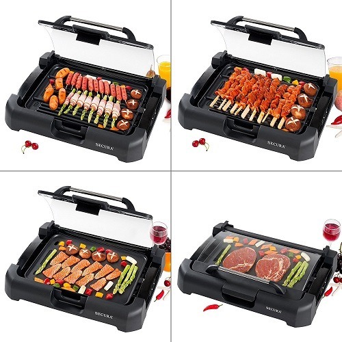 4 Different Breakfasts on The Secura GR-1503XL 1700W Electric Reversible 2 in 1 Grill Griddle With Glass Lid