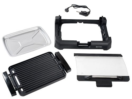 The Secura GR-1503XL 1700W Electric Reversible 2 in 1 Grill Griddle With Glass Lid parts